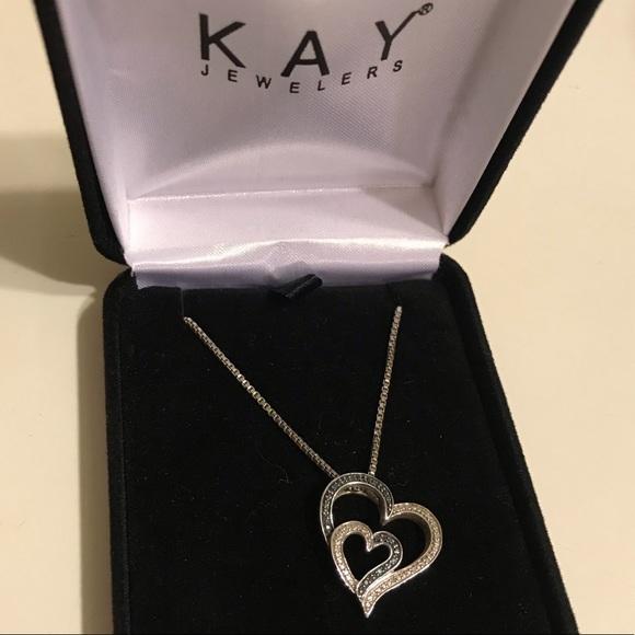 Kay Jewelers Jewelry Kay Blue And White Diamond Double Heart Necklace Poshmark